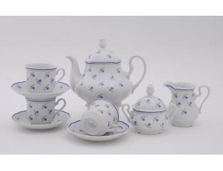 Сервиз чайный 15 предметов 6 персон Leander Мэри-Энн Синие цветы декор 0887