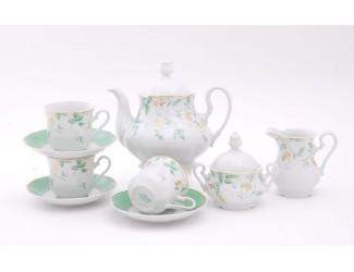 Сервиз чайный 15 предметов 6 персон Leander Мэри-Энн Зелёные листья декор 1381