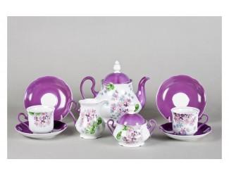 Сервиз чайный 27 предметов 12 персон Leander Мэри-Энн Лиловые цветы декор 2391