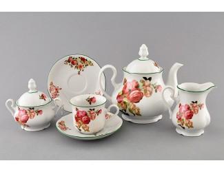 Сервиз чайный 15 предметов 6 персон Leander Мэри-Энн Красные розы декор 2405