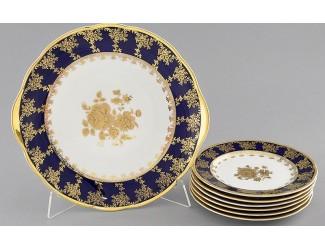 Сервиз для торта 7 предметов Leander Мэри-Энн Золотая роза кобальт декор 0431