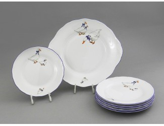 Сервиз для торта 7 предметов Leander Мэри-Энн Гуси декор 0807