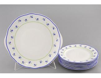 Сервиз для торта 7 предметов Leander Мэри-Энн Синие цветы декор 0887