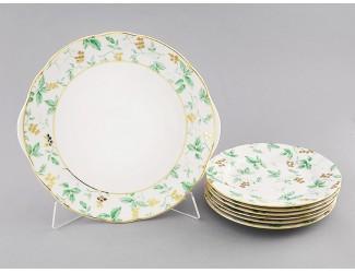 Сервиз для торта 7 предметов Мэри-Энн Зелёные листья декор 1381