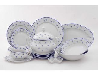 Чайно-столовый сервиз Leander на 6 персон 40 предметов Мэри-Энн Синие цветы  декор 0887