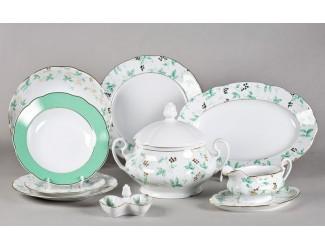 Сервиз столовый 25 предметов 6 персон Leander Мэри-Энн Зелёные листья 1381