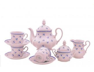 Сервиз чайный 15 предметов 6 персон Leander Мэри-Энн Синие цветы, розовый фарфор