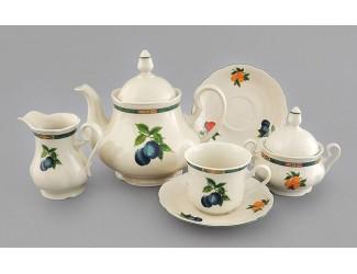 Сервиз чайный 15 предметов 6 персон Leander Мэри-Энн Фруктовый сад декор 080Н, слоновая кость