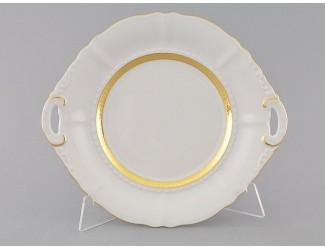 Тарелка для торта 27см Leander Сабина Золотая лента декор 1239