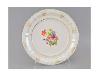 Блюдо круглое мелкое 32см Leander Соната Цветы перламутр декор 0656