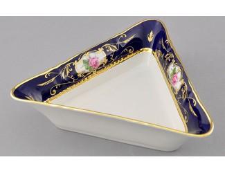 Салатник треугольный 17см Leander Соната Мелкие цветы (Кобальт) декор 0440