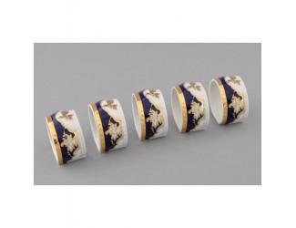 Кольцо для салфеток большое 1шт Leander Соната Золотая роза кобальт декор 1457 07114612-1457