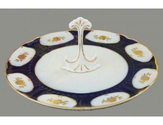 Тарелка для торта на ножке 26см Leander Соната Золотой цветок кобальт декор 0443 07116024-0443