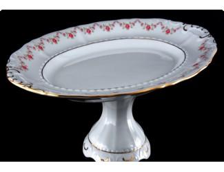 Тарелка для торта 26см на ножке Leander Соната Мелкие цветы декор 0158