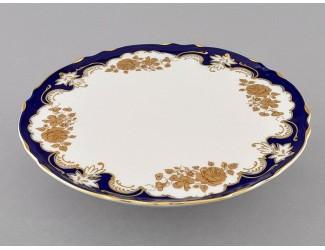 Тарелка для торта на ножке 26см Leander Соната Золотая роза кобальт декор 1457 07116034-1457