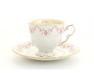 Кофейная пара 150мл Leander Соната Мелкие цветы декор 0158