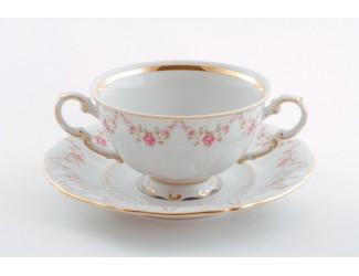 Чаша для супа с подставкой 350мл Leander Соната Мелкие цветы декор 0158