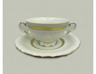 Чаша для супа с блюдцем 350мл Leander Соната Золотая лента декор 1239