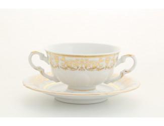 Чашка для супа с блюдцем (бульонница) 350мл Leander Соната Золотой орнамент декор 1373