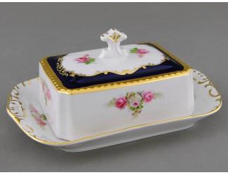 Масленка граненная 0,25кг Leander Соната Мелкие цветы (Кобальт) декор 0440 07122315-0440