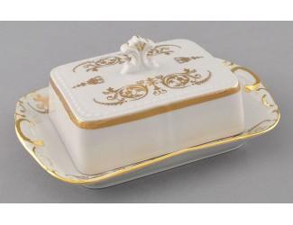 Масленка граненная 0,25кг Leander Соната Золотой орнамент декор 1373 07122315-1373