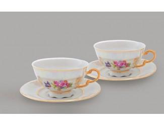Набор чайных пар на 2 персоны 4 предмета 0,20л Leander Цветы перламутр декор 0656
