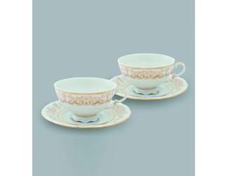 Набор чайных пар на 2 персоны 4 предмета 0,20л Leander Золотой орнамент декор 1373
