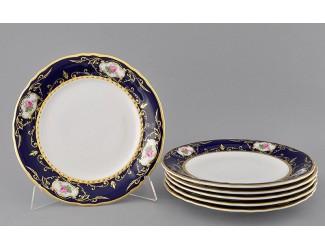 Набор тарелок мелких 6шт 25см Leander Соната Мелкие цветы (Кобальт) декор 0440