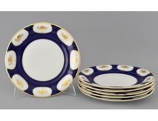 Набор тарелок мелких 6шт 25см Leander Соната Золотой цветок кобальт декор 0443 07160115-0443