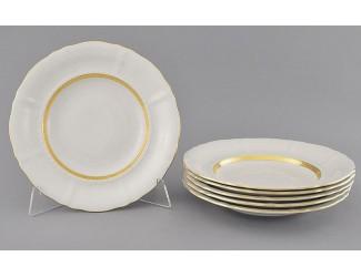 Набор тарелок мелких 6шт 25см Leander Соната Золотая лента декор 1239