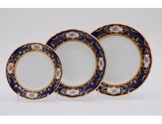 Набор тарелок 18 предметов Leander Соната Мелкие цветы (Кобальт) декор 0440