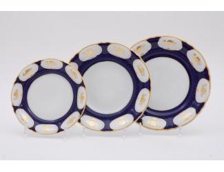 Набор тарелок 18 предметов Leander Соната Золотой цветок кобальт декор 0443 07160119-0443
