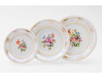 Набор тарелок 18 предметов Leander Соната Цветы перламутр декор 0656