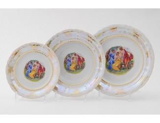 Набор тарелок на 6 персон 18 предметов Leander Соната Мадонна перламутр, декор 0676