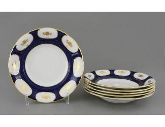 Набор тарелок глубоких 6шт 23см Leander Соната Золотой цветок кобальт декор 0443 07160213-0443