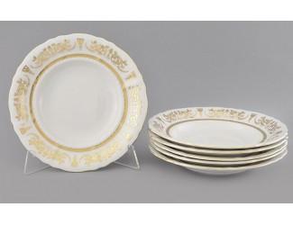 Набор тарелок глубоких 6шт 23см Leander Соната Золотой орнамент декор 1373