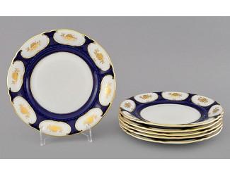Набор тарелок десертных 6шт 19см Leander Соната Золотой цветок кобальт декор 07160319-0443