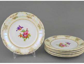 Набор тарелок десертных 6шт 19см Leander Соната Цветы перламутр декор 0656