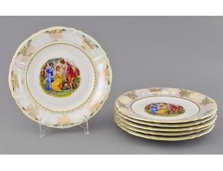 Набор тарелок десертных 19см 6 шт Leander Соната Мадонна перламутр, декор 0676