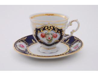 Набор кофейных пар на 6 персон 12 предметов 0,15л Leander Соната Мелкие цветы (Кобальт) декор 0440 07160414-0440