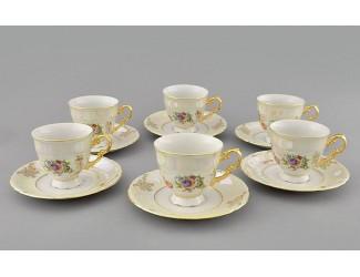 Набор кофейных пар на 6 персон 12 предметов 0,15л Leander Соната Цветы перламутр декор 0656 07160414-0656