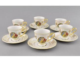 Набор кофейных пар на 6 персон 12 предметов Leander Соната Мадонна перламутр, декор 0676