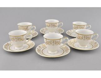 Набор кофейных пар на 6 персон 12 предметов 0,15л Leander Соната Золотой орнамент декор 1373