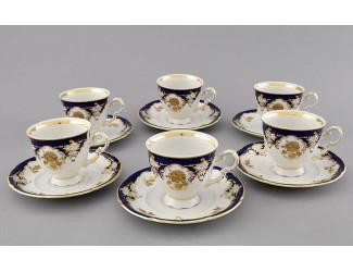Набор кофейных пар 0,15л на 6 персон 12 предметов Leander Соната Золотая роза, кобальт декор 1457 07160414-1457