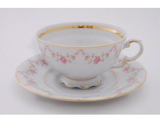 Набор чайных пар на 6 персон 12 предметов 0,20л Leander Соната Мелкие цветы декор 0158