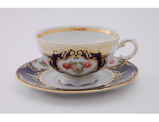 Набор чайных пар на 6 персон 12 предметов 0,20л Leander Соната Мелкие цветы (Кобальт) декор 0440