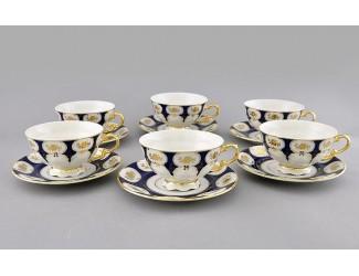 Набор чайных пар 6шт 200мл Leander Соната Золотой цветок кобальт декор 0443 07160425-0443