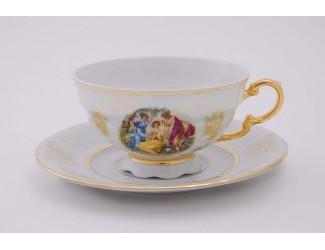 Набор чайных пар на 6 персон 12 предметов Leander Соната Мадонна перламутр, декор 0676