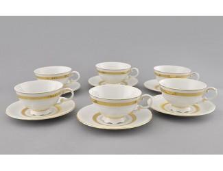 Набор чайных пар на 6 персон 12 предметов 0,20л Leander Соната Золотая лента декор 1239