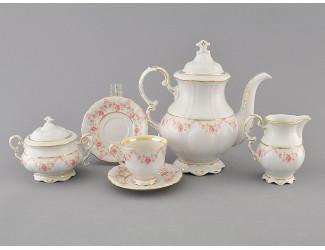 Сервиз кофейный мокко 15 предметов 6 персон Leander Соната Мелкие цветы декор 0158